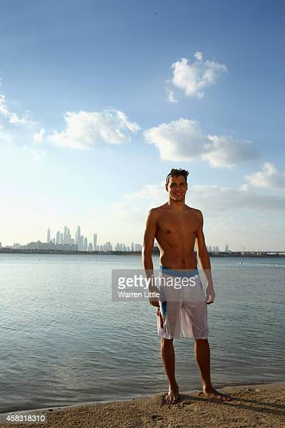 Olympic gold medallist Chad Le Clos of South Africa takes an early morning dip in the Arabian Gulf at Atlantis The Palm in Dubai The swimmer was in...