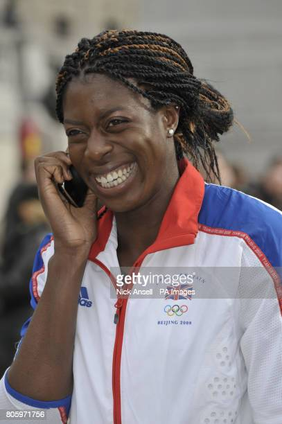 Olympic gold medallist Christine Ohuruogo at the launch of the 2012 Olympics ticket website in Trafalgar Square London