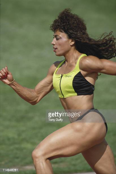 Olympic gold medallist Florence GriffithJoyner during a training run on 1st February 1988 in Los Angeles California United States