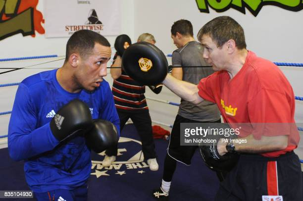Olympic Gold Medallist James DeGale with trainer Jim McDonnell ahead of his professional debut on Saturday 28 February during the workout session at...