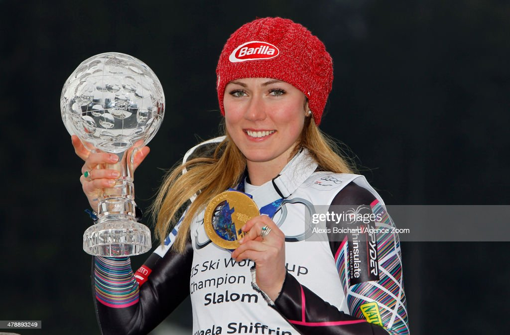 Olympic gold medallist <a gi-track='captionPersonalityLinkClicked' href=/galleries/search?phrase=Mikaela+Shiffrin&family=editorial&specificpeople=7472698 ng-click='$event.stopPropagation()'>Mikaela Shiffrin</a> of the USA with the overall slalom World Cup globe on March 15, 2014 in Lenzerheide, Switzerland.