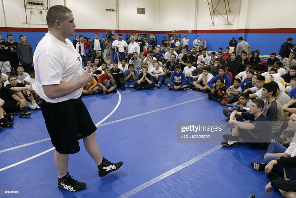 Olympic gold medallist Rulon Gardner speaks during a wrestling clinic at Independence High School on January 16 2003 in San Jose California The...
