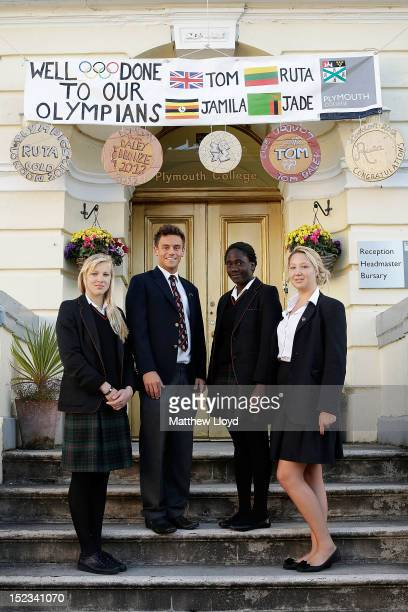 Olympic gold medallist Ruta Meilutyte Olympic bronze medallist diver Tom Daley Olympic swimmer Jamila Lunkuse and Olympic swimmer Jade Howard pose...