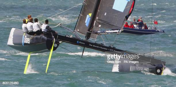 Olympic gold medallist Shirley Robertson aboard her Extreme 40 catamaran iShares with round the world yachtswoman Dee Caffari aboard just before...