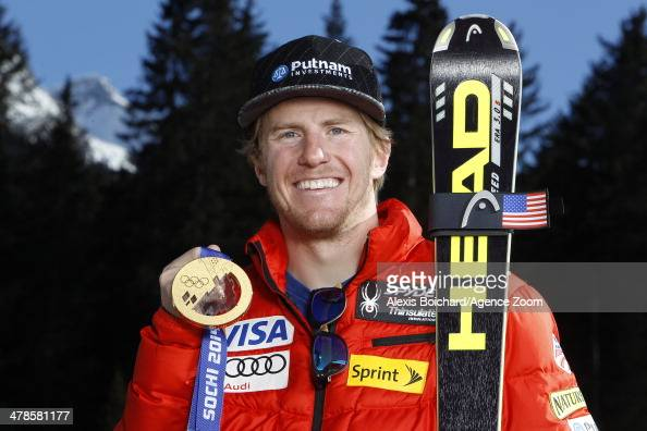 Olympic gold medallist Ted Ligety of the USA during a photo shoot with the US Ski Team Olympic alpine ski medalists on March 13 2014 in Lenzerheide...