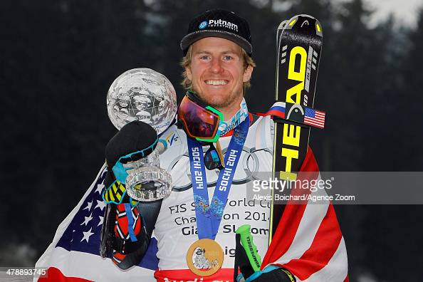 Olympic gold medallist Ted Ligety of the USA with the overall giant slalom World Cup globe on March 15 2014 in Lenzerheide Switzerland
