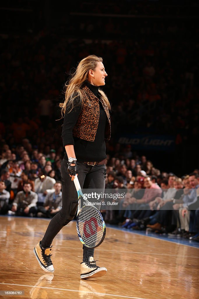 Olympic Gold Metal tennis star Victoria Azarenka during the game between the New York Knicks and the Miami Heat on March 3, 2013 at Madison Square Garden in New York City.