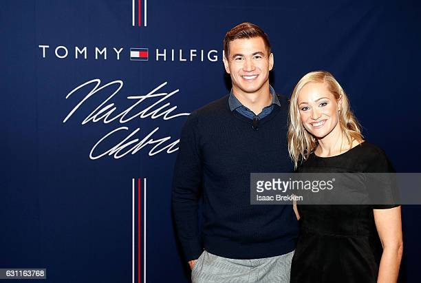 Olympic goldmedal winning swimmer Nathan Adrian and former Olympian Christina Jones arrive at a meet and greet hosted by Tommy Hilfiger on January 7...