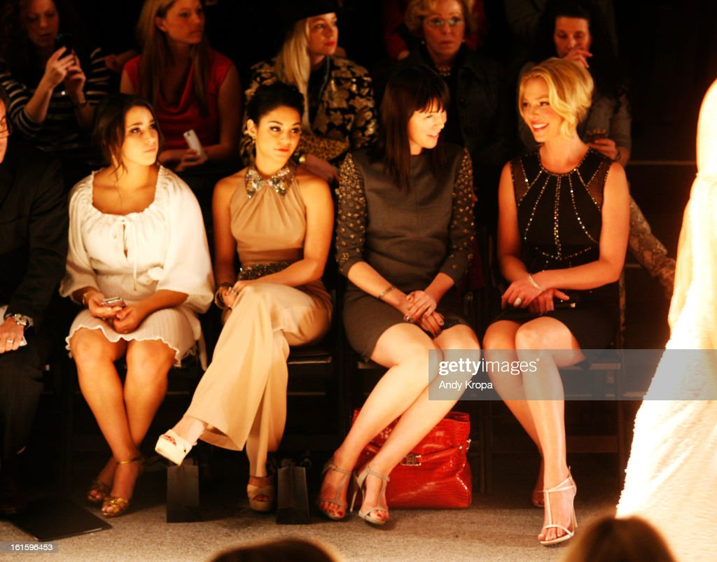 Olympic gymnast Alexandra Raisman, actress Vanessa Hudgens, and actress Katherine Heigl (far R) attend the Jenny Packham Fall 2013 fashion show during Mercedes-Benz Fashion Week at The Studio at Lincoln Center on February 12, 2013 in New York City.