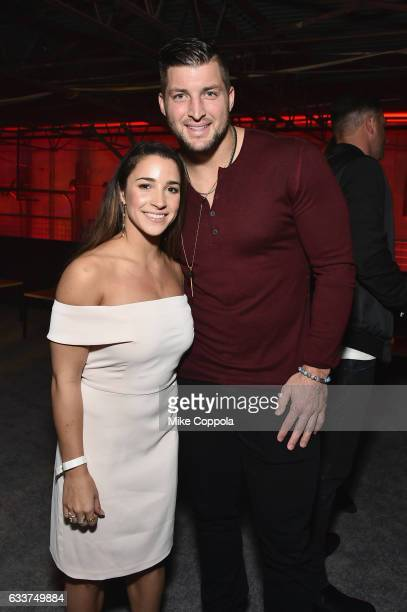 Olympic gymnast Aly Raisman and professional baseball player attends Tim Tebow attends the 13th Annual ESPN The Party on February 3 2017 in Houston...