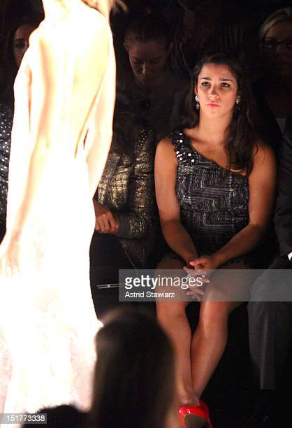 Olympic gymnast Aly Raisman attends the Badgley Mischka Runway Show during the Spring 2013 MercedesBenz Fashion Week at The Theatre at Lincoln Center...