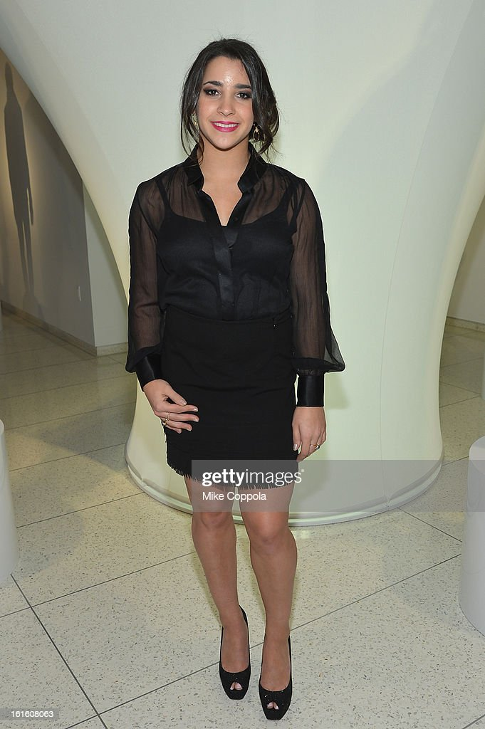 Olympic gymnast Aly Raisman poses at the Elie Tahari Fall 2013 fashion show presentation during Mercedes-Benz Fashion Week at The Studio at Lincoln Center on February 12, 2013 in New York City.
