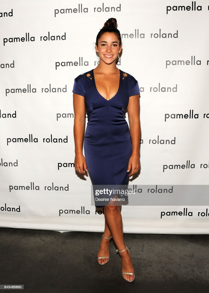 Olympic gymnast Aly Raisman poses backstage for the Pamella Roland Spring 2018 Collection Show during New York Fashion Week at Pier 59 on September 6, 2017 in New York City.