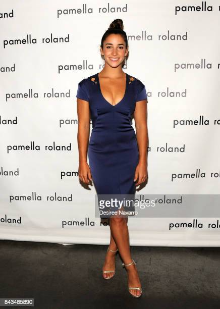 Olympic gymnast Aly Raisman poses backstage for the Pamella Roland Spring 2018 Collection Show during New York Fashion Week at Pier 59 on September 6...