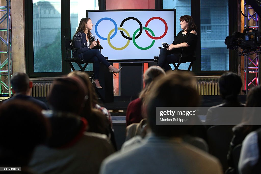 Olympic gymnast Aly Raisman speaks with Entertainment editorial director at AOL Donna Freydkin at The Build Series Presents Aly Raisman at AOL HQ on October 24, 2016 in New York City.