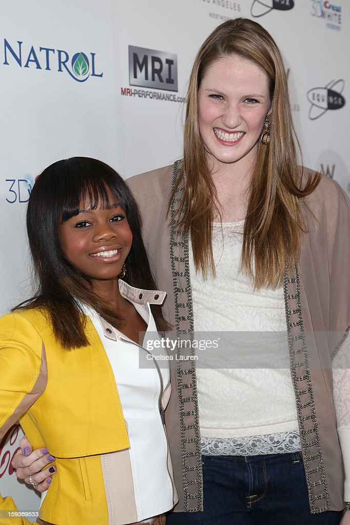 Olympic gymnast Gabby Douglas (L) and Olympic swimmer Missy Franklin arrive at CW3PR Presents the inaugural 'Gold Meets Golden' event at New Flagship Equinox Sports Club on January 12, 2013 in Los Angeles, California.