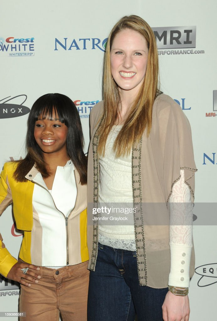 Olympic gymnast Gabby Douglas and Olympic swimmer Missy Franklin attend the Gold Meets Gold Event, held at the Equinox Sports Club Flagship West Los Angeles location on Saturday, January 12, 2013 in Los Angeles, California.