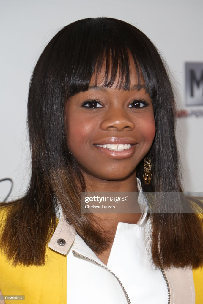 Olympic gymnast Gabby Douglas arrives at CW3PR Presents the inaugural 'Gold Meets Golden' event at New Flagship Equinox Sports Club on January 12, 2013 in Los Angeles, California.