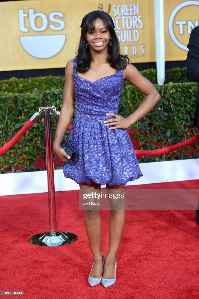 Olympic gymnast Gabby Douglas arrives at the 19th Annual Screen Actors Guild Awards held at The Shrine Auditorium on January 27, 2013 in Los Angeles, California.