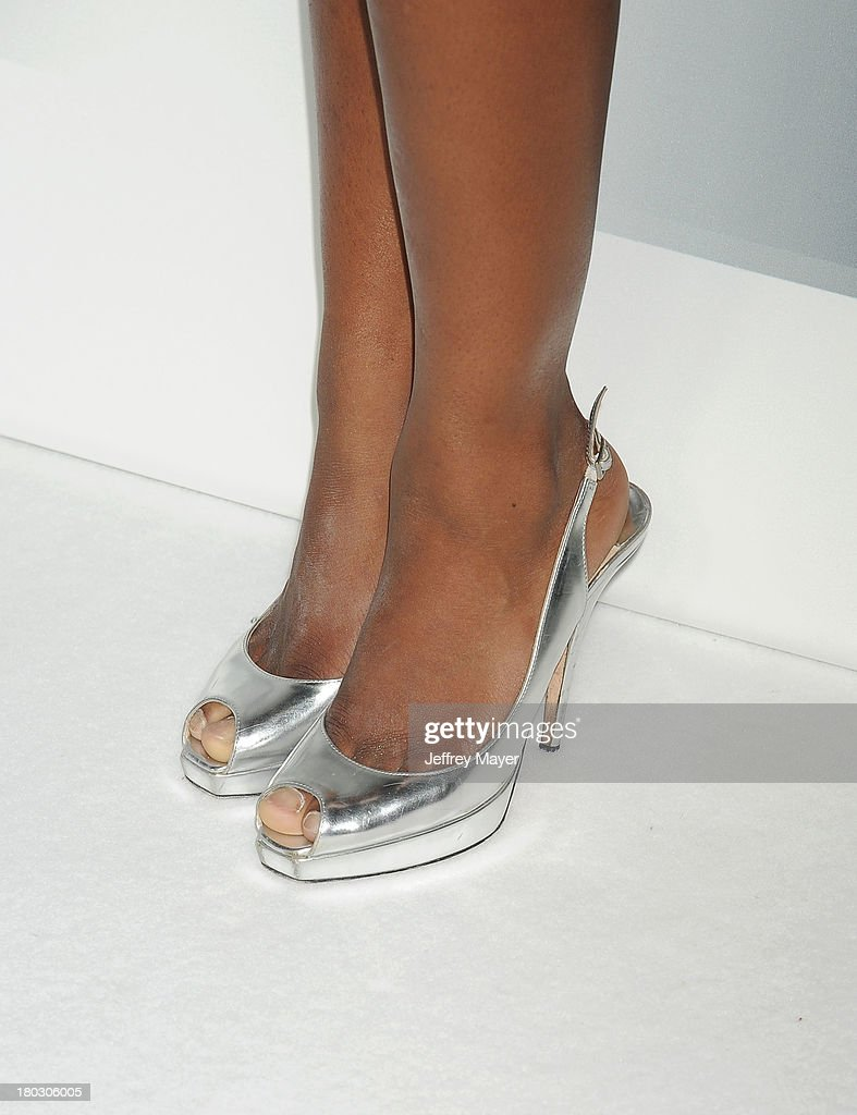 Olympic gymnast <a gi-track='captionPersonalityLinkClicked' href=/galleries/search?phrase=Gabby+Douglas&family=editorial&specificpeople=8465211 ng-click='$event.stopPropagation()'>Gabby Douglas</a> (shoe detail) at the Paramount Pictures' celebration of at the Blu-Ray and DVD debut of 'Star Trek: Into Darkness' at California Science Center on September 10, 2013 in Los Angeles, California.