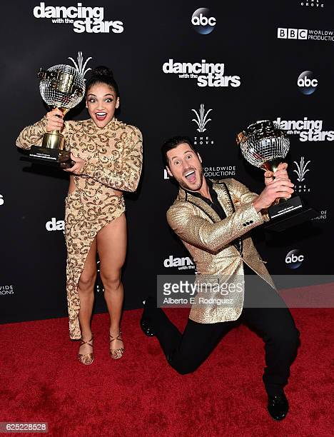 Olympic Gymnast Laurie Hernandez and professional dancer Valentin Chmerkovskiy attend ABC's 'Dancing With The Stars' Season 23 Finale at The Grove on...