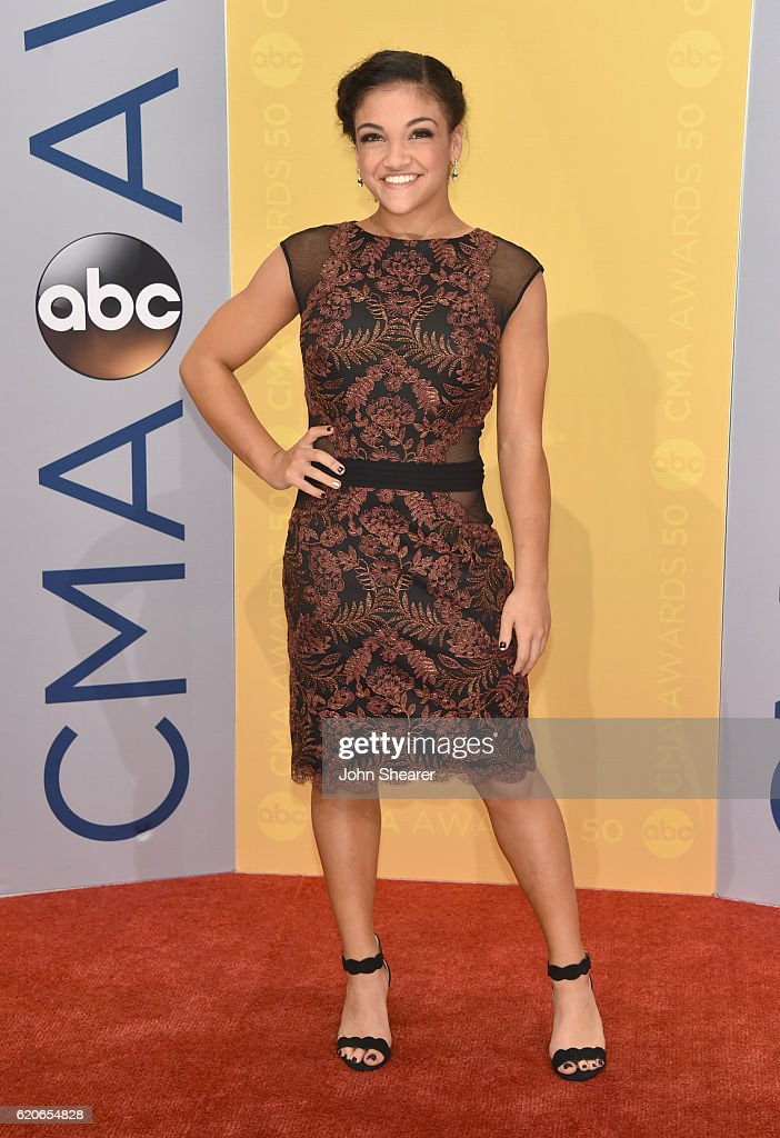 Olympic gymnast Laurie Hernandez attends the 50th annual CMA Awards at the Bridgestone Arena on November 2, 2016 in Nashville, Tennessee.