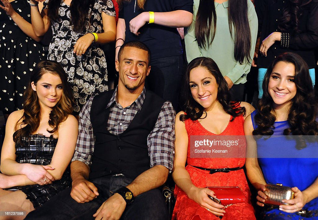 Olympic Gymnast McKayla Maroney, NFL player Colin Kaepernick and Olympic gymnasts Jordyn Wieber and Aly Raisman attend the Third Annual Hall of Game Awards hosted by Cartoon Network at Barker Hangar on February 9, 2013 in Santa Monica, California. 23270_003_SK_0660.JPG