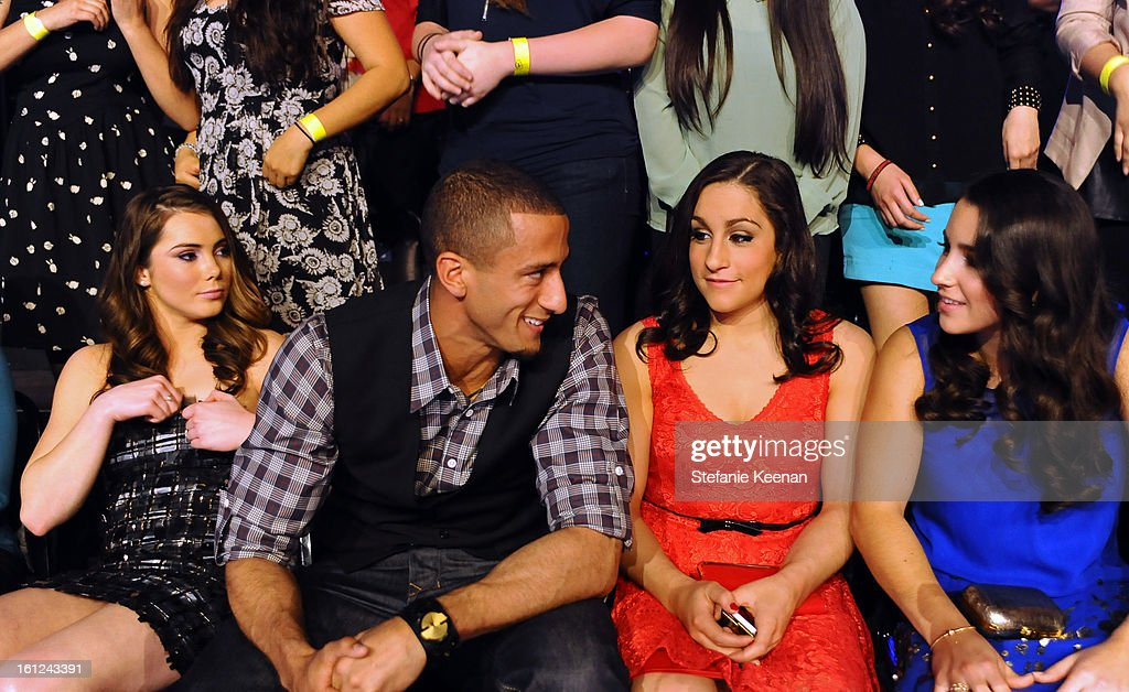 Olympic Gymnast McKayla Maroney, NFL player Colin Kaepernick and Olympic gymnasts Jordyn Wieber and Aly Raisman attend the Third Annual Hall of Game Awards hosted by Cartoon Network at Barker Hangar on February 9, 2013 in Santa Monica, California. 23270_003_SK_0658.JPG