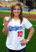 Olympic gymnast Shawn Johnson Practices Pitching before throwing the ceremonial first pitch at Dodgers game at Dodger Stadium on June 1 2009 in Los...