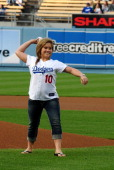 Olympic gymnast Shawn Johnson throws ceremonial first pitch at Dodgers game at Dodger Stadium on June 1 2009 in Los Angeles California