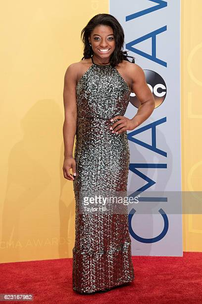Olympic gymnast Simone Biles attends the 50th annual CMA Awards at the Bridgestone Arena on November 2 2016 in Nashville Tennessee