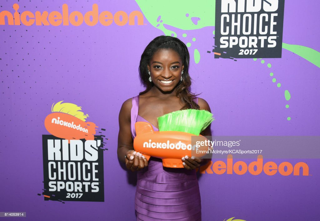 Olympic gymnast Simone Biles, winner of the Favorite Female Athlete award, attends Nickelodeon Kids' Choice Sports Awards 2017 at Pauley Pavilion on July 13, 2017 in Los Angeles, California.