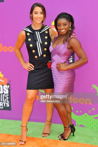 Olympic gymnasts Aly Raisman and Simone Biles attend Nickelodeon Kids' Choice Sports Awards 2017 at Pauley Pavilion on July 13 2017 in Los Angeles...