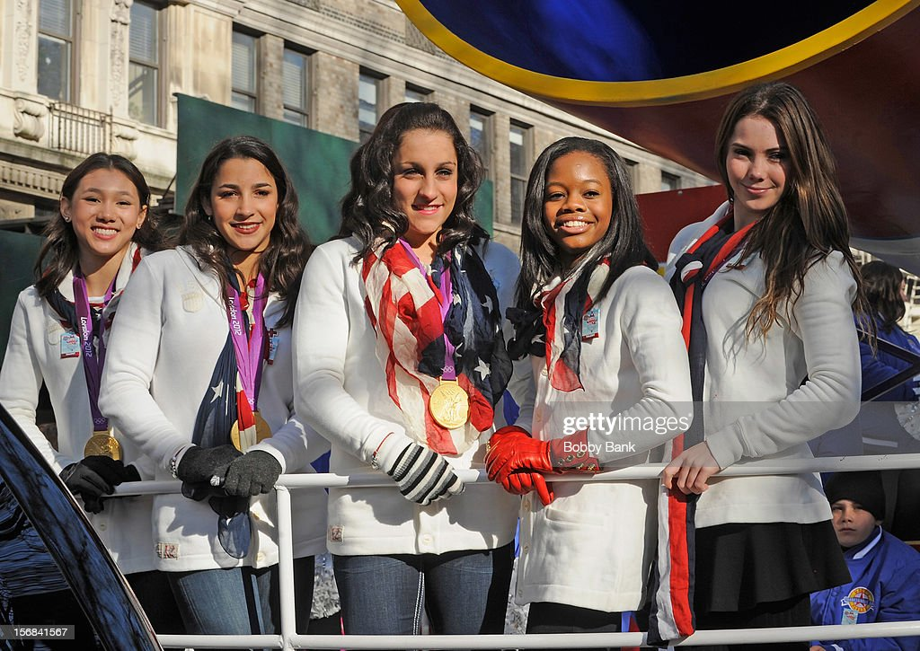 Olympic gymnasts <a gi-track='captionPersonalityLinkClicked' href=/galleries/search?phrase=Kyla+Ross&family=editorial&specificpeople=6920700 ng-click='$event.stopPropagation()'>Kyla Ross</a>, Aly Raisman, <a gi-track='captionPersonalityLinkClicked' href=/galleries/search?phrase=Jordyn+Wieber&family=editorial&specificpeople=5720749 ng-click='$event.stopPropagation()'>Jordyn Wieber</a>, <a gi-track='captionPersonalityLinkClicked' href=/galleries/search?phrase=Gabby+Douglas&family=editorial&specificpeople=8465211 ng-click='$event.stopPropagation()'>Gabby Douglas</a> and <a gi-track='captionPersonalityLinkClicked' href=/galleries/search?phrase=McKayla+Maroney&family=editorial&specificpeople=7138673 ng-click='$event.stopPropagation()'>McKayla Maroney</a> attends the 86th Annual Macy's Thanksgiving Day Parade on November 22, 2012 in New York City.