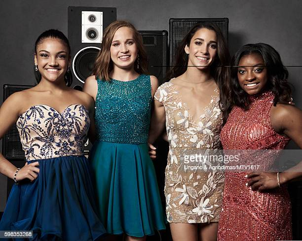 Olympic gymnasts Laurie Hernandez Madison Kocian Aly Raisman and Simone Biles pose for a portrait at the 2016 MTV Video Music Awards at Madison...