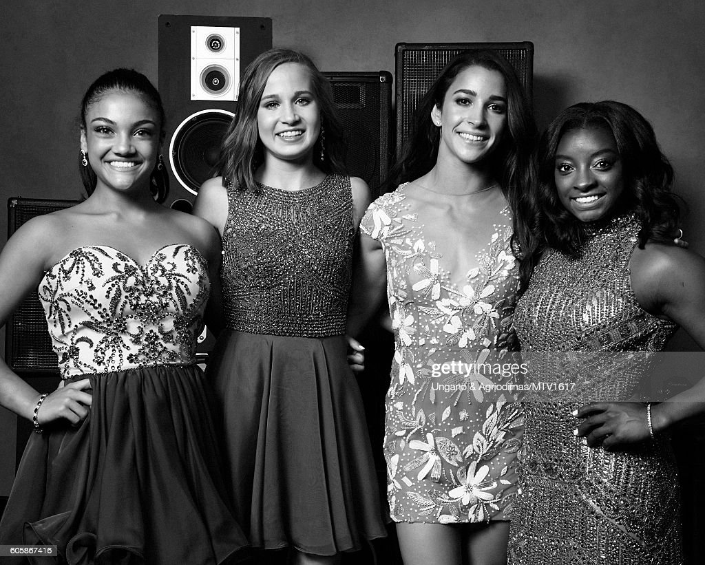 Olympic gymnasts Laurie Hernandez, Madison Kocian, Aly Raisman and Simone Biles pose for a portrait at the 2016 MTV Video Music Awards at Madison Square Garden on August 28, 2016 in New York City.