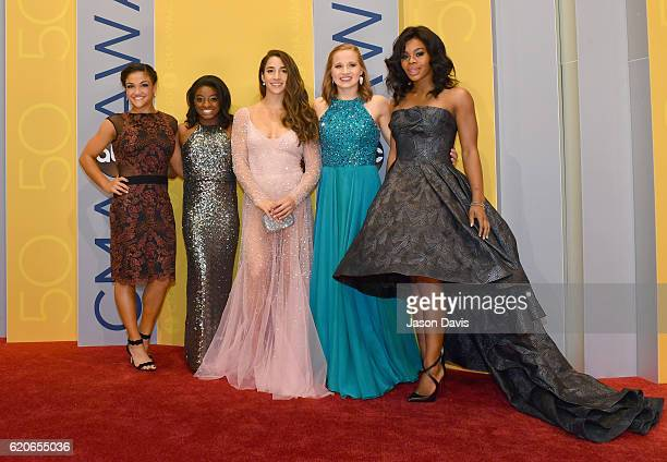 Olympic gymnasts Laurie Hernandez Simone Biles Aly Raisman Madison Kocian and Gabby Douglas attend the 50th annual CMA Awards at the Bridgestone...