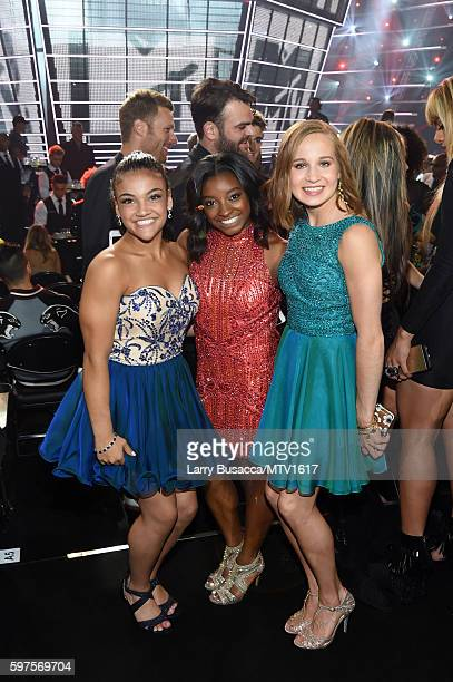 Olympic gymnasts Laurie Hernandez Simone Biles and Madison Kocian attend the 2016 MTV Video Music Awards at Madison Square Garden on August 28 2016...