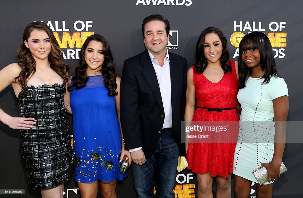 Olympic Gymnasts McKayla Maroney, Aly Raisman, guest, Jordyn Wieber and Gabby Jones attend the Third Annual Hall of Game Awards hosted by Cartoon Network at Barker Hangar on February 9, 2013 in Santa Monica, California. 23270_002_JG_0324.JPG