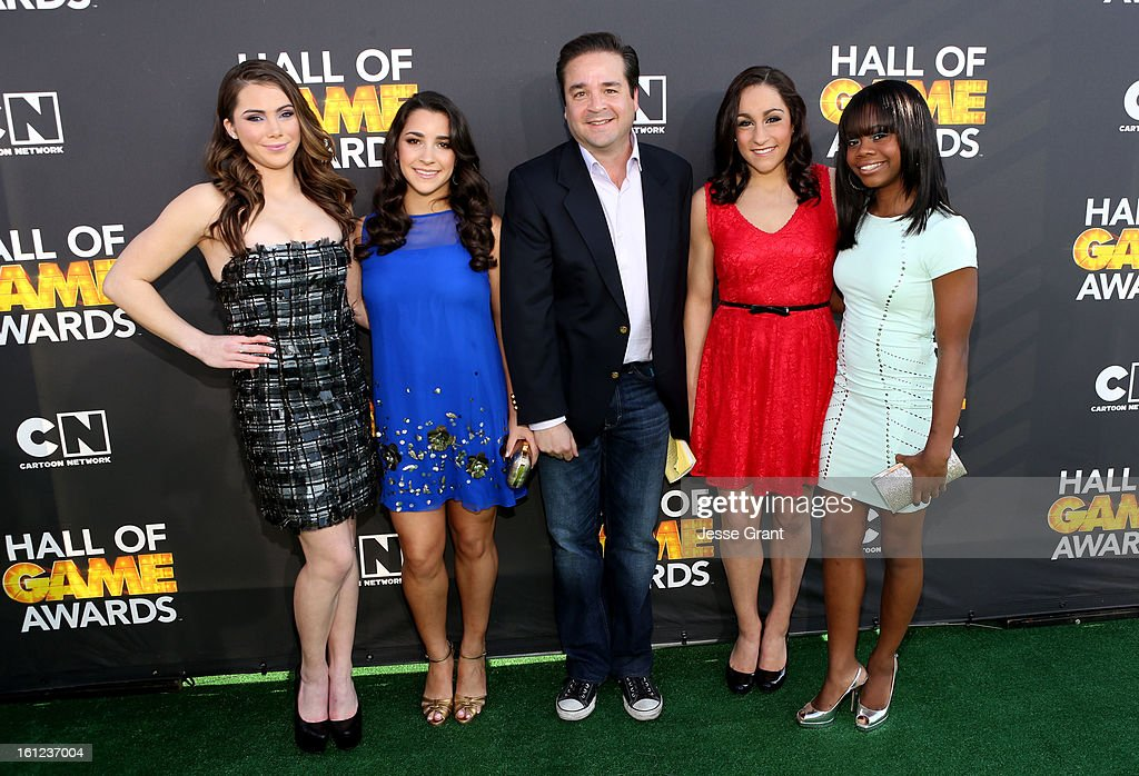 Olympic Gymnasts McKayla Maroney, Aly Raisman, guest, Jordyn Wieber and Gabby Jones attend the Third Annual Hall of Game Awards hosted by Cartoon Network at Barker Hangar on February 9, 2013 in Santa Monica, California. 23270_002_JG_0321.JPG