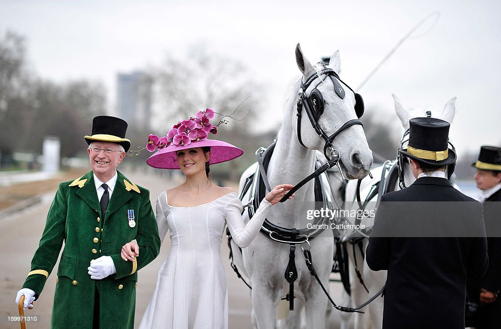 Olympic hero Victoria Pendleton launches the Royal Ascot 2013 campaign image 'The Colour and the Glory' in London's Hyde Park wearing Philip Treacy and Emilia Wickstead at Hyde Park on January 24, 2013 in London, England.
