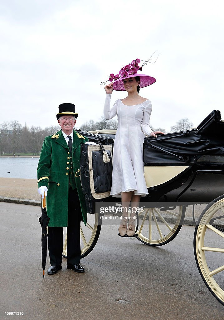Olympic hero <a gi-track='captionPersonalityLinkClicked' href=/galleries/search?phrase=Victoria+Pendleton&family=editorial&specificpeople=228525 ng-click='$event.stopPropagation()'>Victoria Pendleton</a> launches the Royal Ascot 2013 campaign image 'The Colour and the Glory' in London's Hyde Park wearing Philip Treacy and Emilia Wickstead at Hyde Park on January 24, 2013 in London, England.