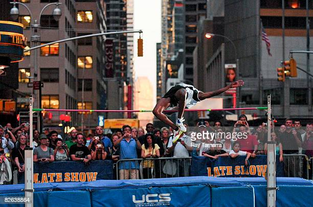 Olympic High Jump gold medalist Charles Austin performs at the 'Late Show with David Letterman' at the Ed Sullivan Theatre on September 2 2008 in New...