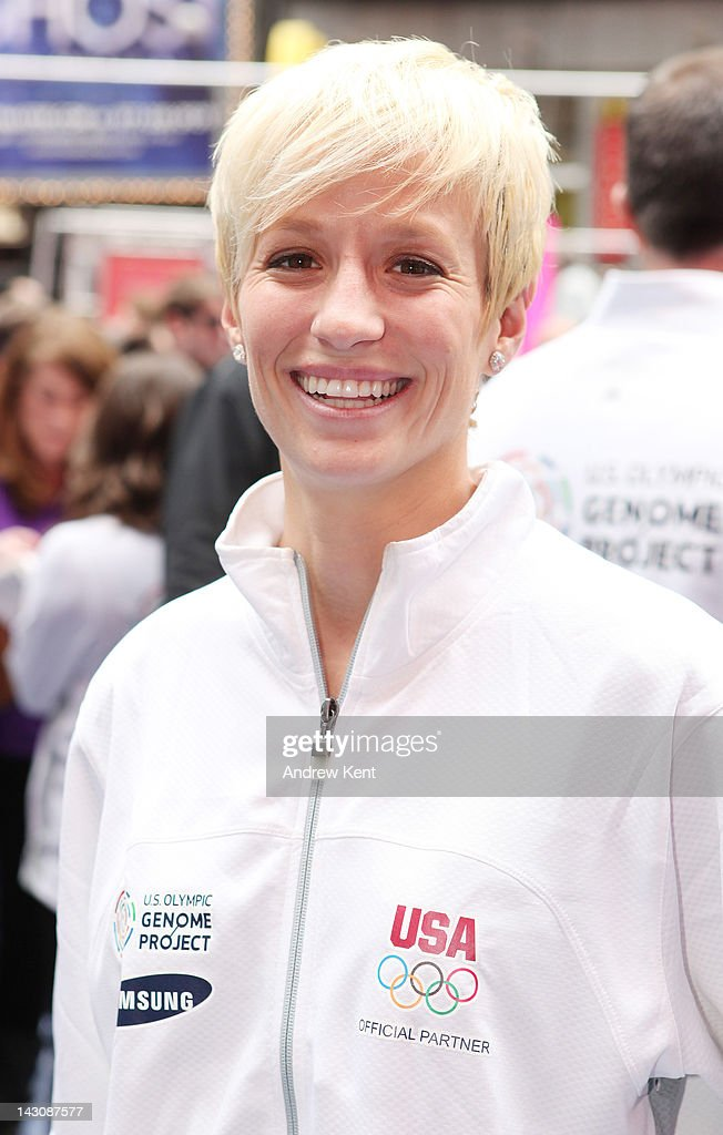 Olympic hopeful <a gi-track='captionPersonalityLinkClicked' href=/galleries/search?phrase=Megan+Rapinoe&family=editorial&specificpeople=736784 ng-click='$event.stopPropagation()'>Megan Rapinoe</a> poses as she helps launch the U.S. Olympic Genome Project created by Samsung at the United States Olympic Committee's 100 Days Out event on April 18, 2012 in New York City.