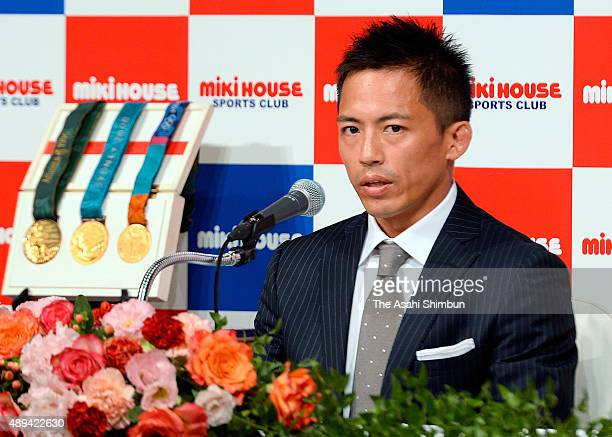 Olympic Judo triple gold medalist Tadahiro Nomura speaks during a press conference announcing his retirement on August 31 2015 in Osaka Japan