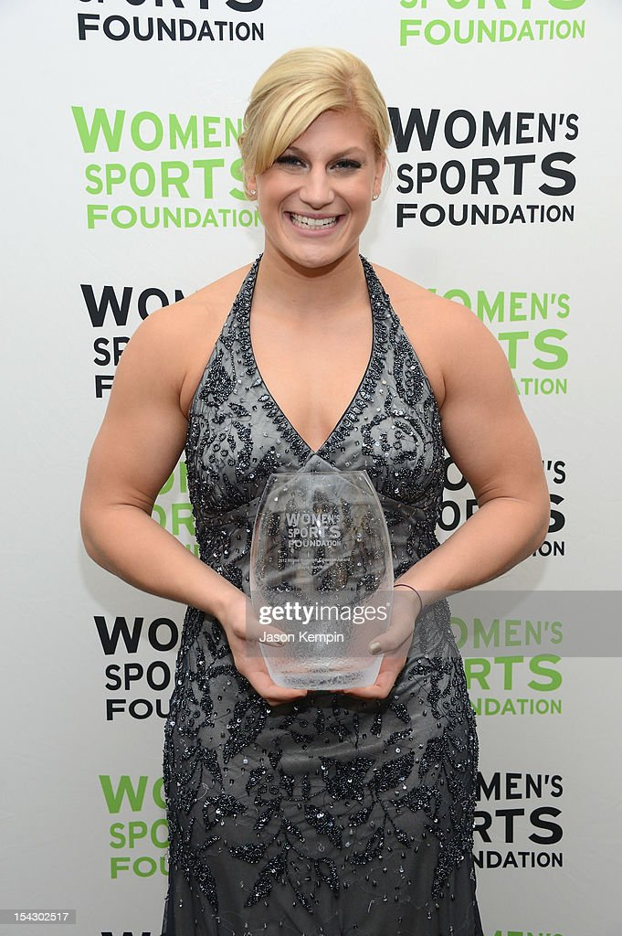Olympic Judoka <a gi-track='captionPersonalityLinkClicked' href=/galleries/search?phrase=Kayla+Harrison&family=editorial&specificpeople=7179048 ng-click='$event.stopPropagation()'>Kayla Harrison</a> receives the Wilma Rudolph Courage Award at the 33rd annual Salute To Women In Sports Gala at Cipriani Wall Street on October 17, 2012 in New York City.