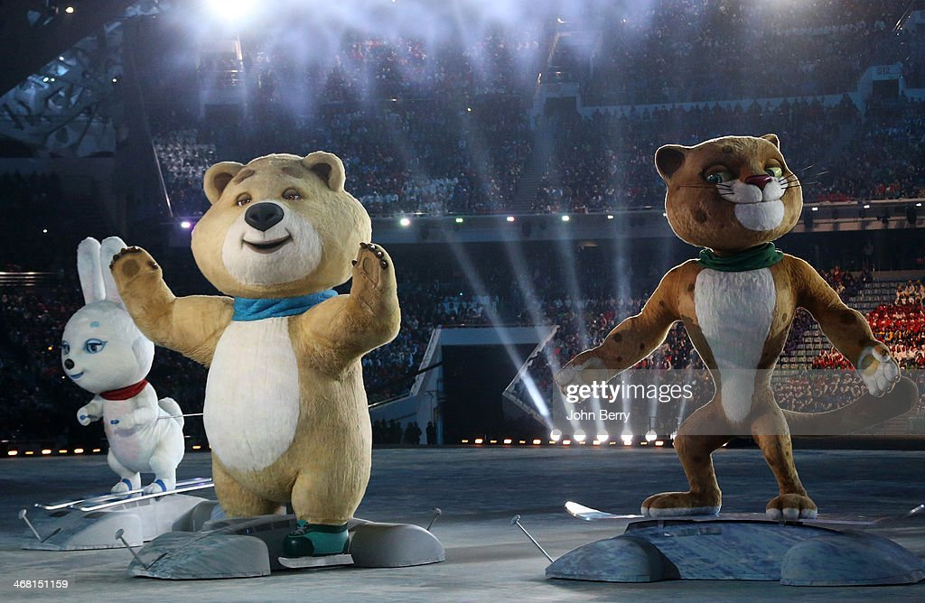 Olympic mascots the Hare, the Polar Bear and the Leopard are seen during the Opening Ceremony of the 2014 Winter Olympic Games at the Fisht Olympic Stadium on February 7, 2014 in Sochi, Russia.
