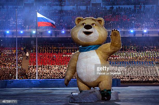 Olympic mascots the Polar Bear waves during the Opening Ceremony of the Sochi 2014 Winter Olympics at Fisht Olympic Stadium on February 7 2014 in...