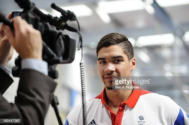 Olympic medal winner Louis Smith visits Huntingdon Gymnastics Club to inspire the nation to join in local sports on August 18 2012 in Huntingdon...