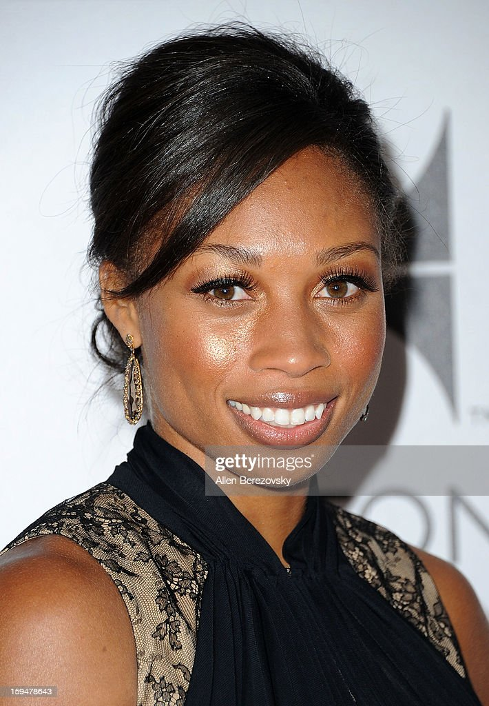 Olympic medalist Allyson Felix arrives at the NBC Universal's 70th annual Golden Globe Awards after party on January 13, 2013 in Beverly Hills, California.